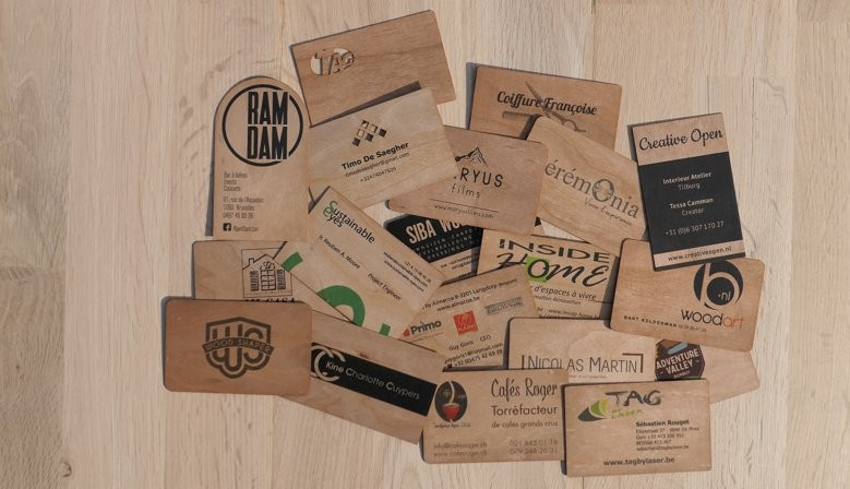 Printed wooden business card