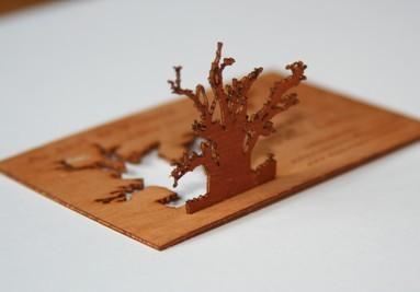 Wood card engraved
