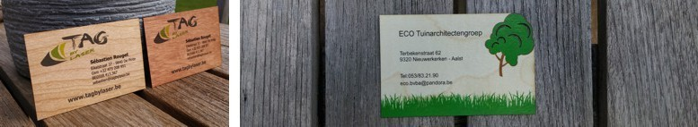 Printed wooden business cards